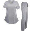 Set Grey Pant Shirt Fit Pocket Drawstring Scrub Pants