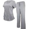 Set Grey Soft Modern Fit 2 Pocket Drawstring Scrub Pant Natual Uniform