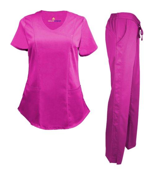 Set Hot Pink Pant Drawstring Scrub Pants Shirt