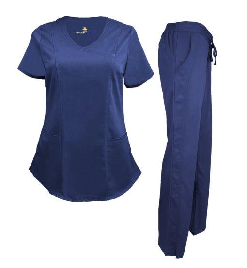 Set Navy Blue Pant Drawstring Scrub Pants Shirt