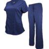 Set Navy Blue Womens Soft Drawstring Scrub Pant Natual Uniform Modern Fit