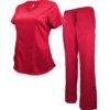 Set Red Womens Soft Drawstring Scrub Pant