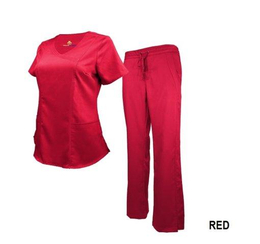 Set Red Soft Drawstring Scrub Pant