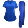 Set Royal Blue Scrub Pants Drawstring Shirt