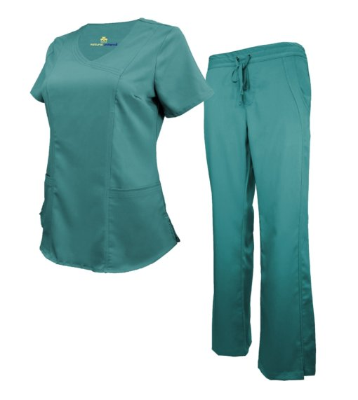 Set Teal Womens Soft Drawstring Scrub Pant Shirt Drawstring