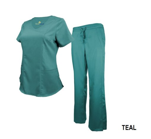 Set Teal Soft Drawstring Scrub Pant Shirt Drawstring