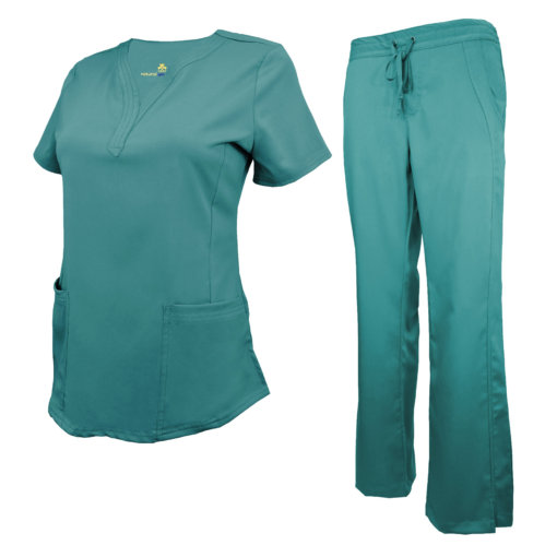 Teal Drawstring Scrub Pant Shirt Set Stretch Soft Modern Fit