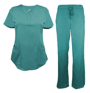 Teal Womens Drawstring Scrub Set Pant Shirt