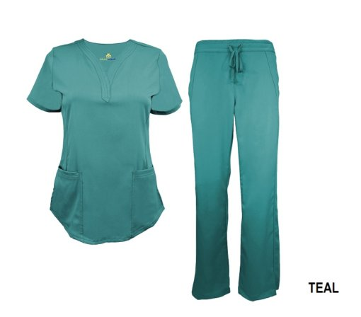 Teal Scrub Set Drawstring Pant Shirt