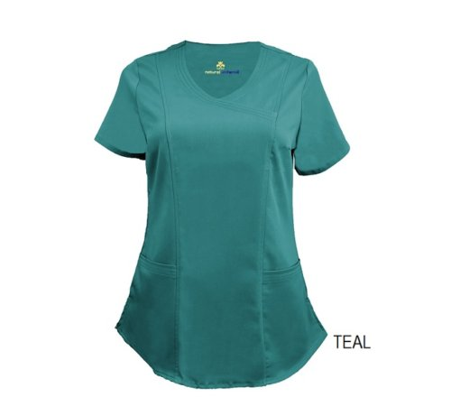 Teal Blue Mock Wrap Scrub Top Shirt Soft
