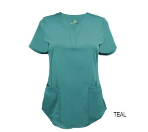 Teal Ultrasoft Stretch Drop-Neck 2 Pocket Scrub Top