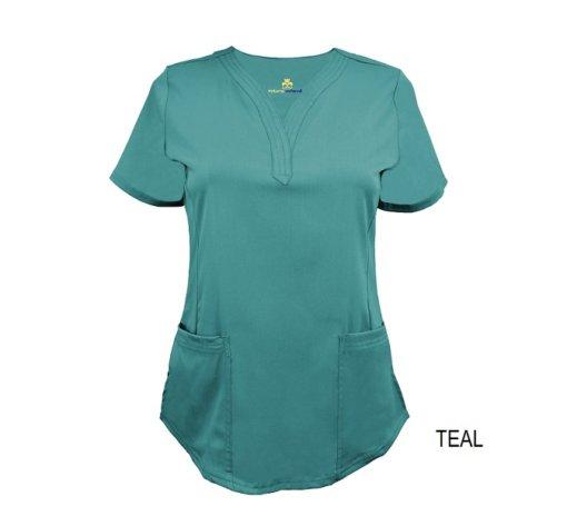 Teal Ultrasoft Stretch Drop-Neck 2 Pocket Scrub Top
