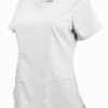 White Ultra Soft Stretch Drop-Neck 2 Pocket Scrub Top