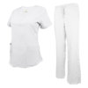 White Drawstring Scrub Pant Shirt Set Stretch Soft Modern Fit