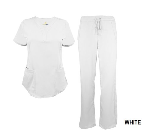 White Scrub Set Drawstring Pant Shirt