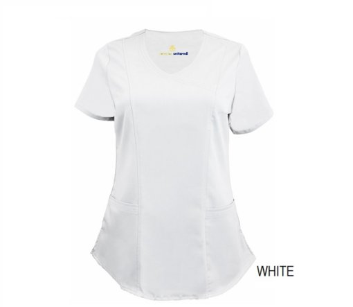 White Mock Wrap Scrub Top Shirt Soft
