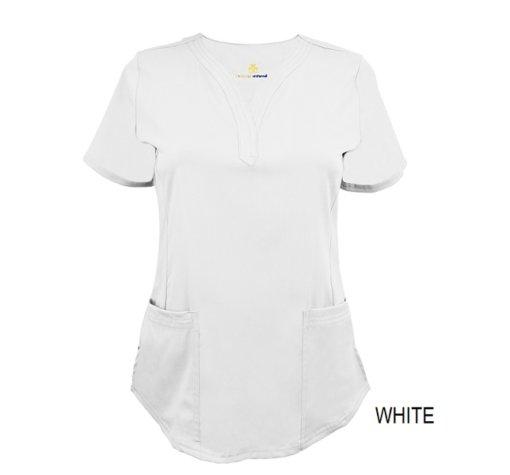 White Ultrasoft Stretch Drop-Neck 2 Pocket Scrub Top
