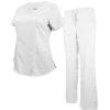 Set White Pant Drawstring Scrub Pants Shirt