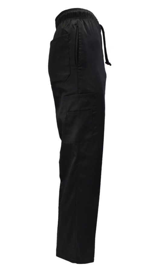 Black chef pant uniform side pocket