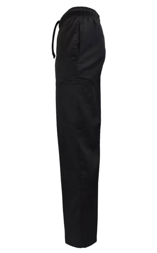 Black chef pant uniform side pockets